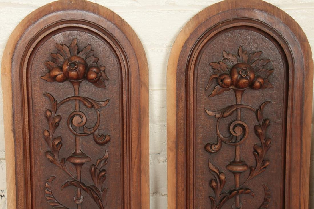 4 ARCH TOPPED CARVED VICTORIAN WALNUT PLAQUES - 2