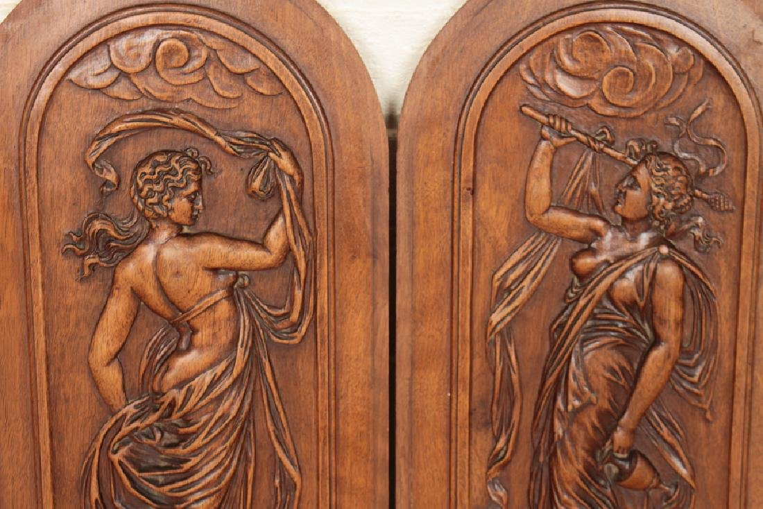 4 ARCH TOPPED CARVED VICTORIAN WALNUT PLAQUES - 4