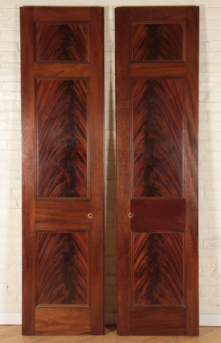 PAIR RAISED PANEL FLAME MAHOGANY DOORS