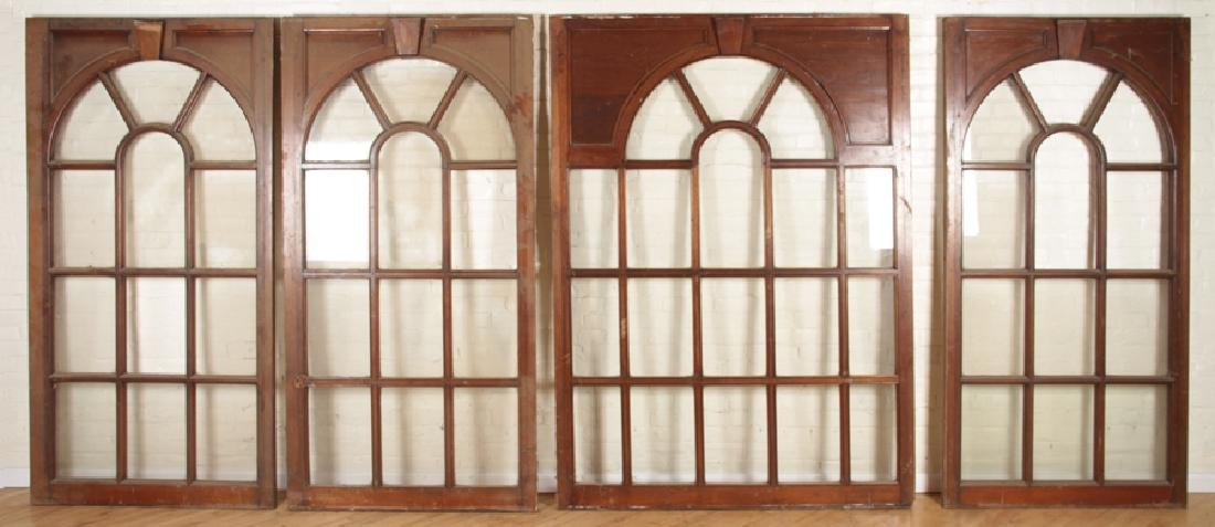 SET 4 MAHOGANY GLASS PALLADIAN WINDOWS/DOORS