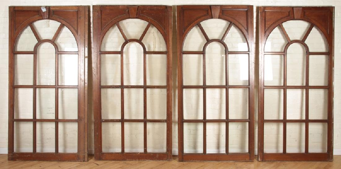 SET 4 MAHOGANY AND GLASS PALLADIAN STYLE WINDOWS/DOORS