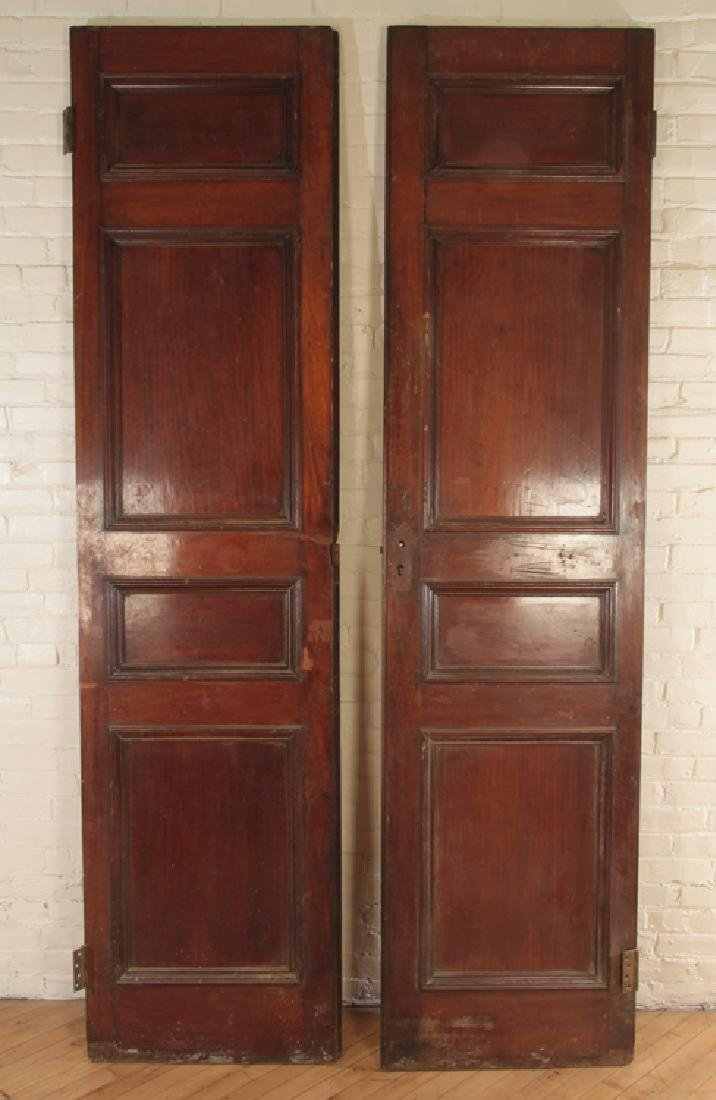PAIR SOLID MAHOGANY 4 PANEL DOORS CIRCA 1900