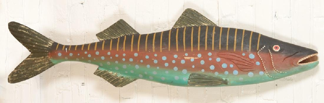 CARVED AND PAINTED WOODEN FISH