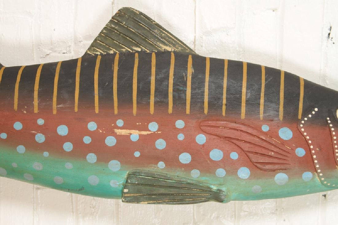 CARVED AND PAINTED WOODEN FISH - 3