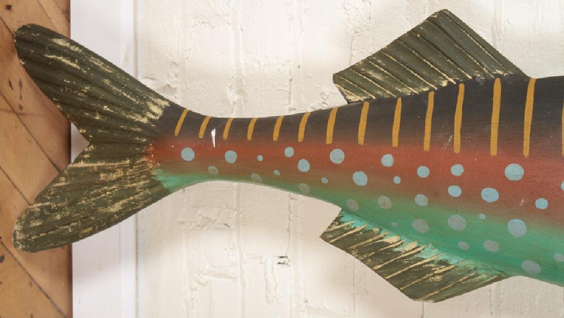 CARVED AND PAINTED WOODEN FISH - 4