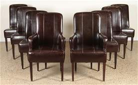 SET 8 LEATHER DINING CHAIRS TAPERED MAHOGANY LEGS