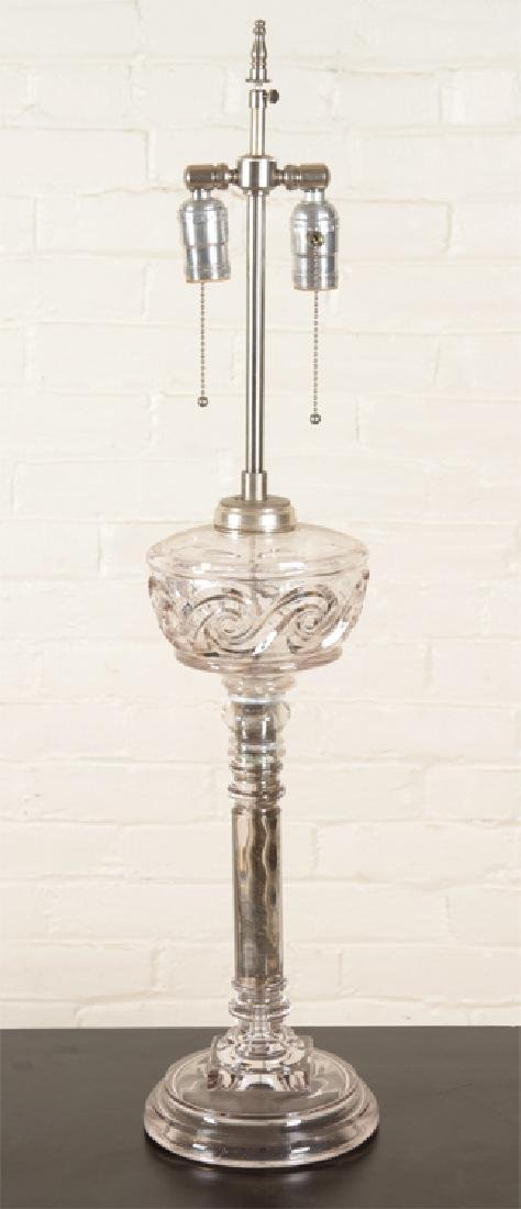 PAIR TALL POLISHED CHROME AND GLASS TABLE LAMPS - 2