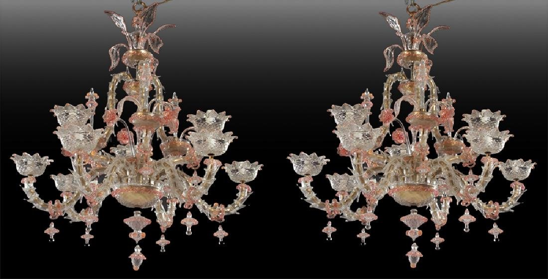 PAIR LARGE MULTI ARM MURANO GLASS CHANDELIERS