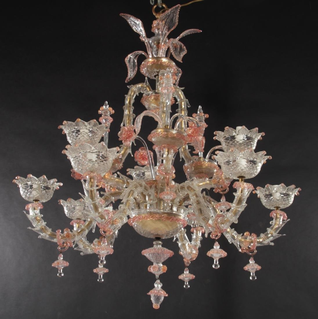 PAIR LARGE MULTI ARM MURANO GLASS CHANDELIERS - 2