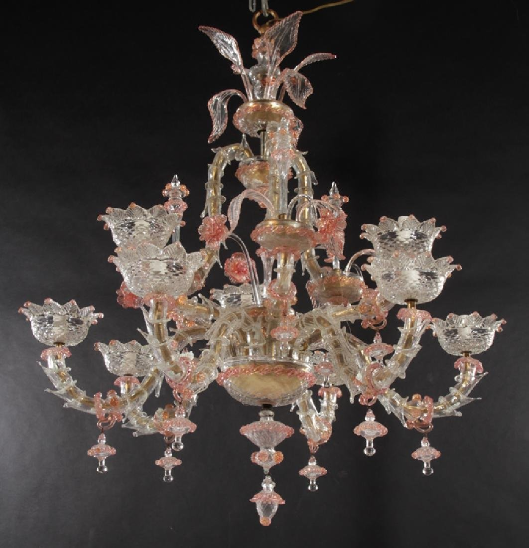 PAIR LARGE MULTI ARM MURANO GLASS CHANDELIERS - 3