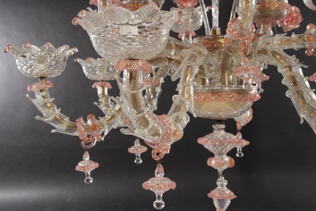 PAIR LARGE MULTI ARM MURANO GLASS CHANDELIERS - 7