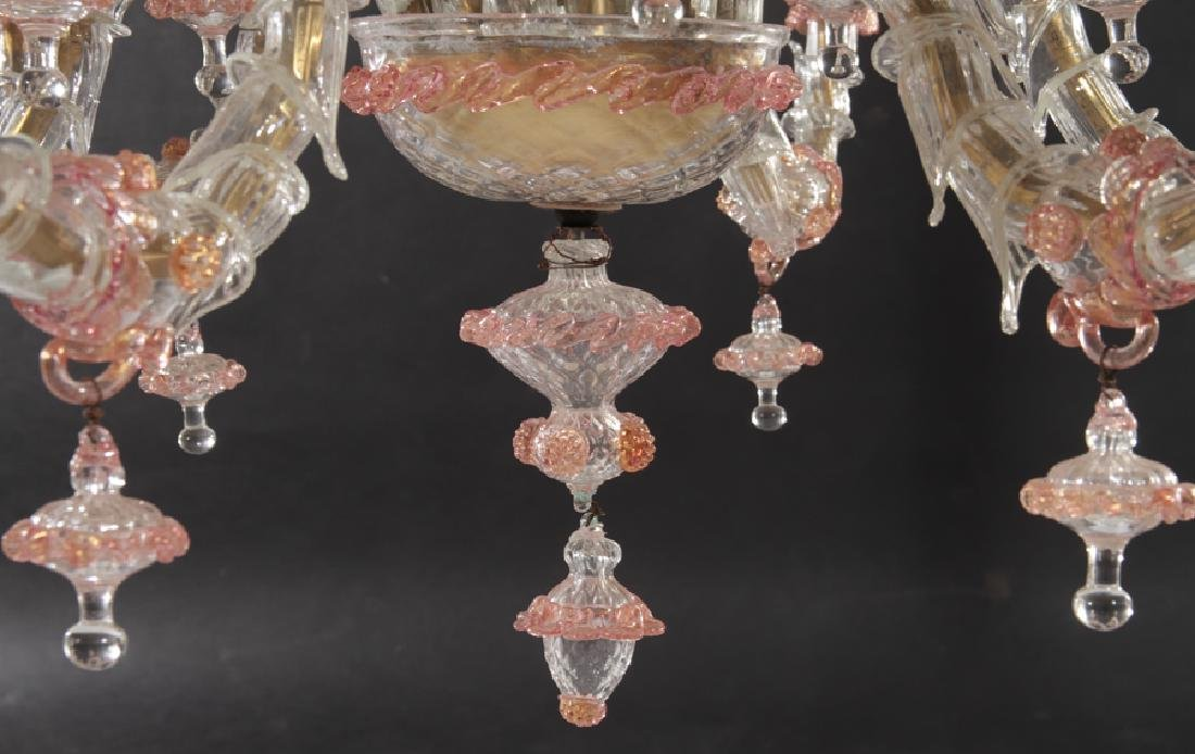 PAIR LARGE MULTI ARM MURANO GLASS CHANDELIERS - 8
