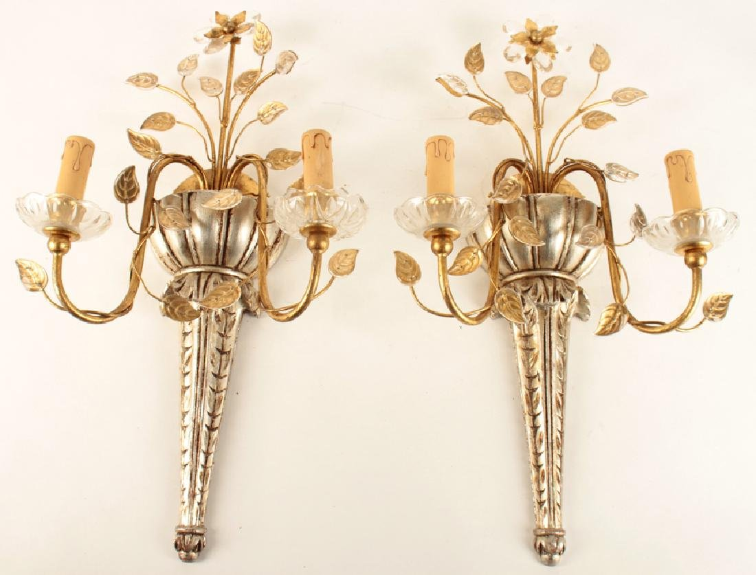 PAIR BAGUES STYLE GILTWOOD CRYSTAL 2 ARM SCONCES