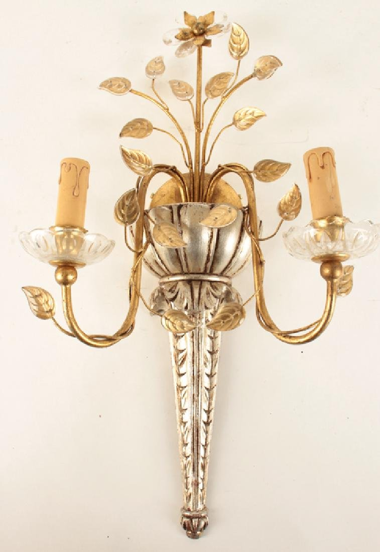 PAIR BAGUES STYLE GILTWOOD CRYSTAL 2 ARM SCONCES - 2