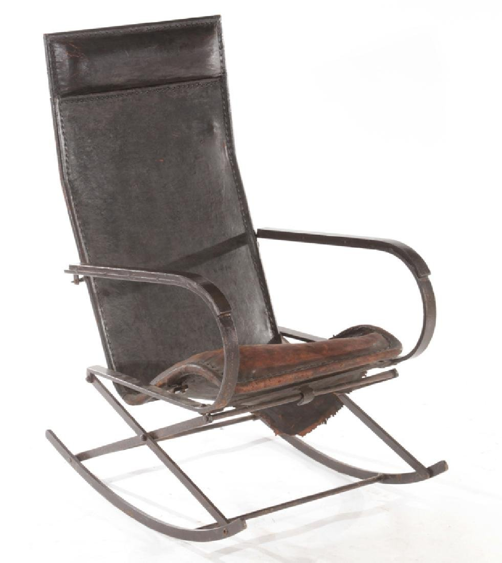WROUGHT IRON LEATHER FRENCH ROCKING CHAIR C.1910