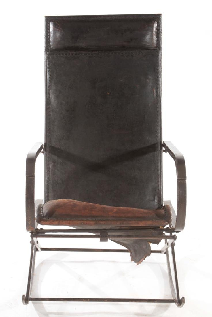 WROUGHT IRON LEATHER FRENCH ROCKING CHAIR C.1910 - 2