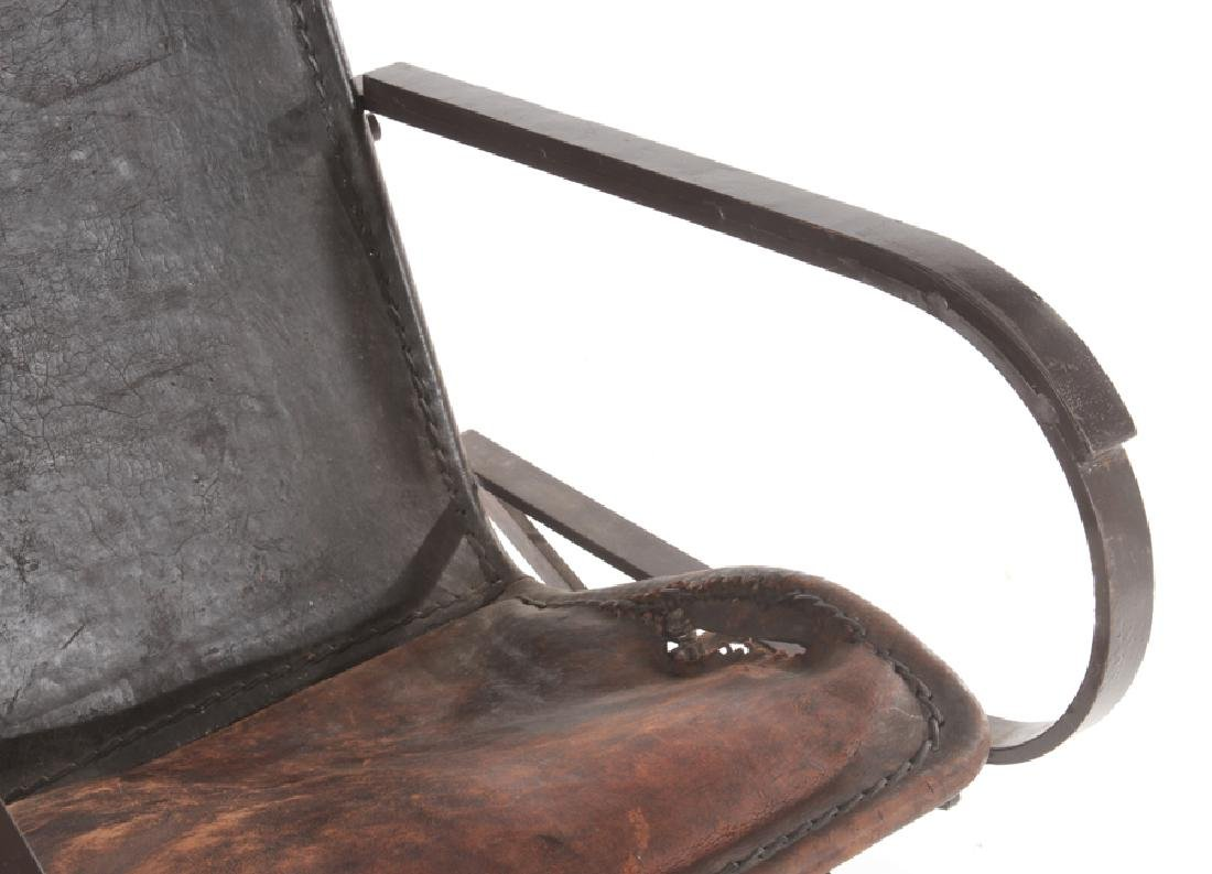 WROUGHT IRON LEATHER FRENCH ROCKING CHAIR C.1910 - 4