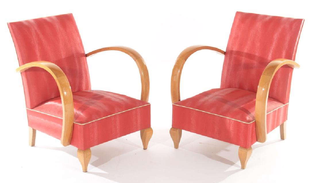 PAIR FRENCH ART DECO OPEN ARM CHAIRS C.1940