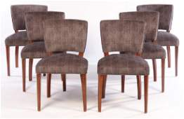 SET 6 ART DECO STYLE UPHOLSTERED DINING CHAIRS