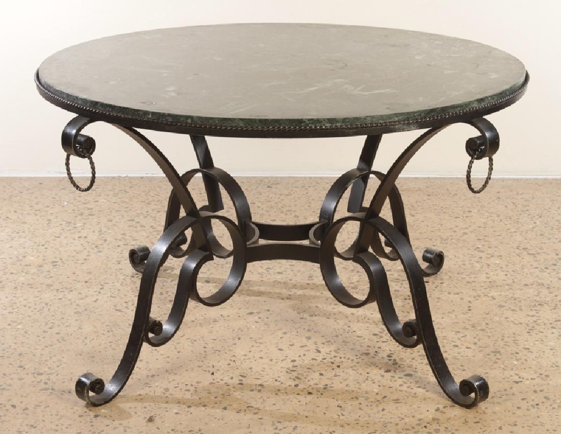 CIRCULAR FRENCH IRON AND MARBLE TABLE CIRCA 1950