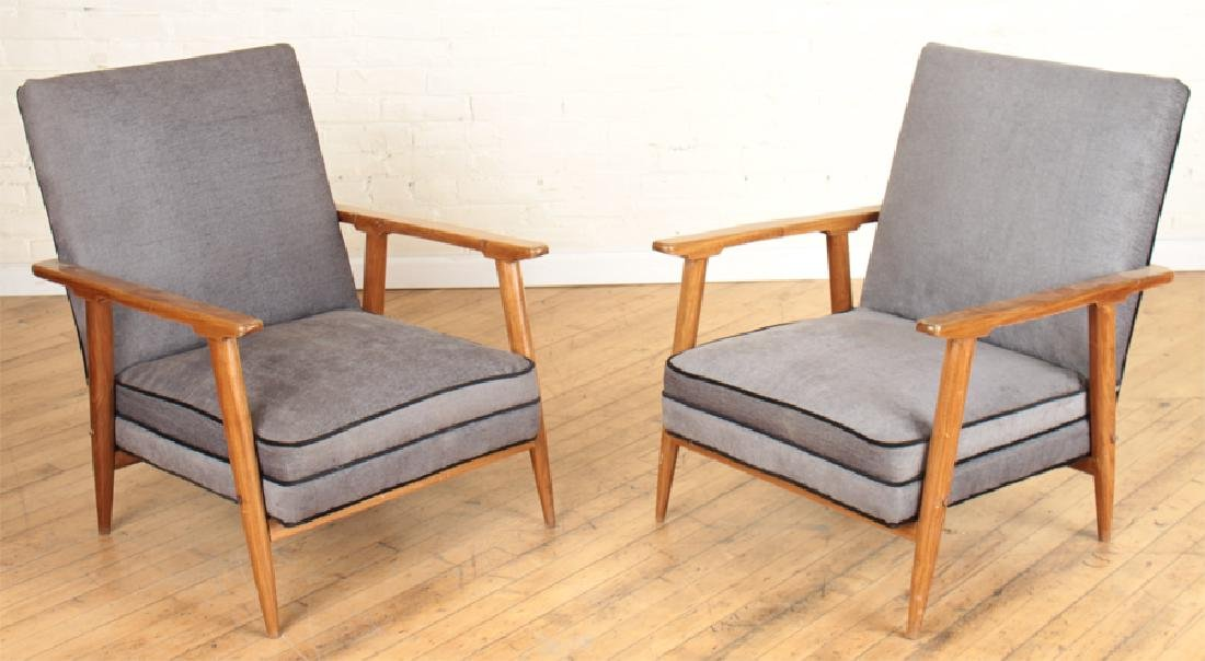 PAIR DANISH STYLE UPHOLSTERED ARM CHAIRS C.1960
