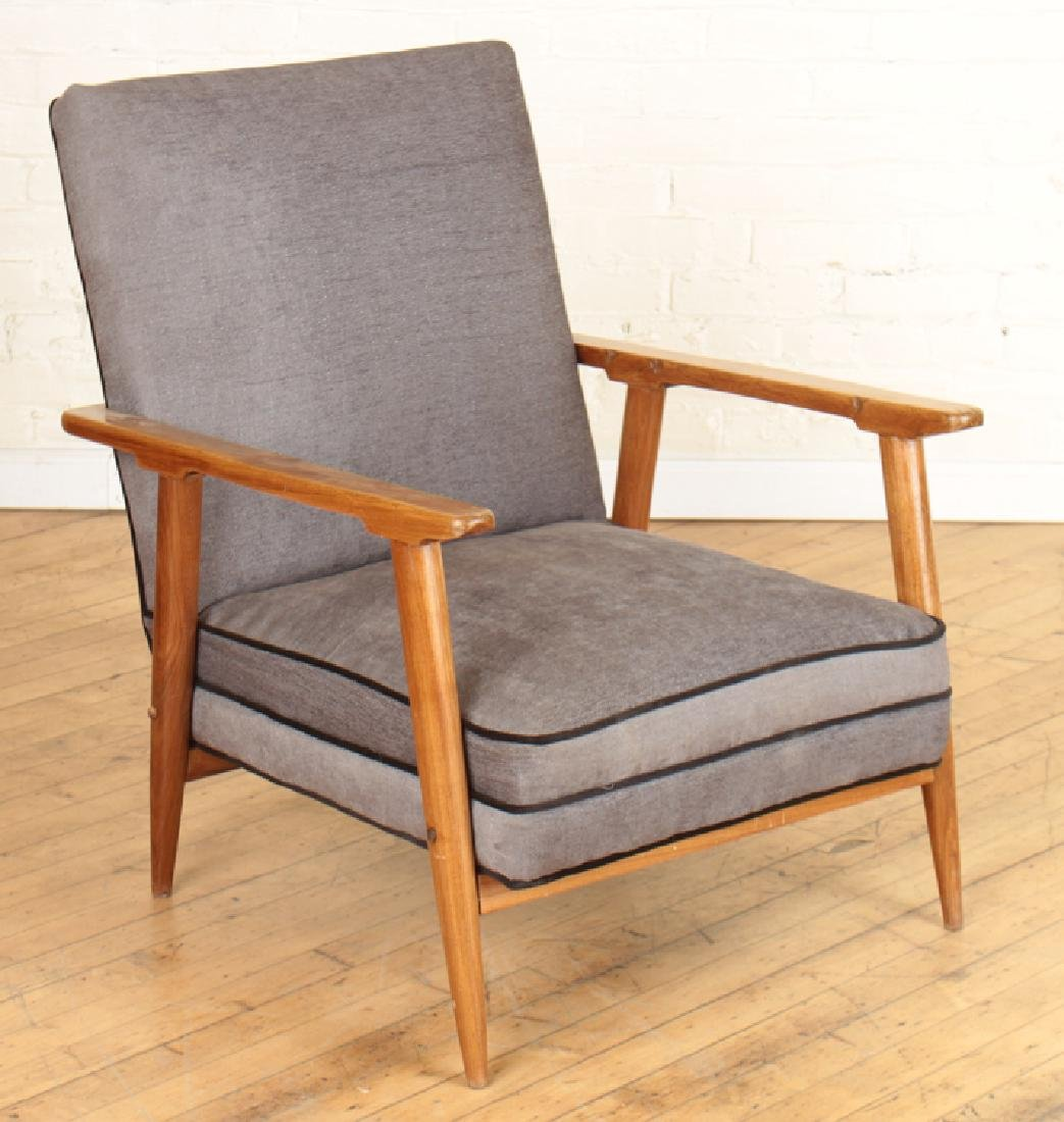 PAIR DANISH STYLE UPHOLSTERED ARM CHAIRS C.1960 - 2