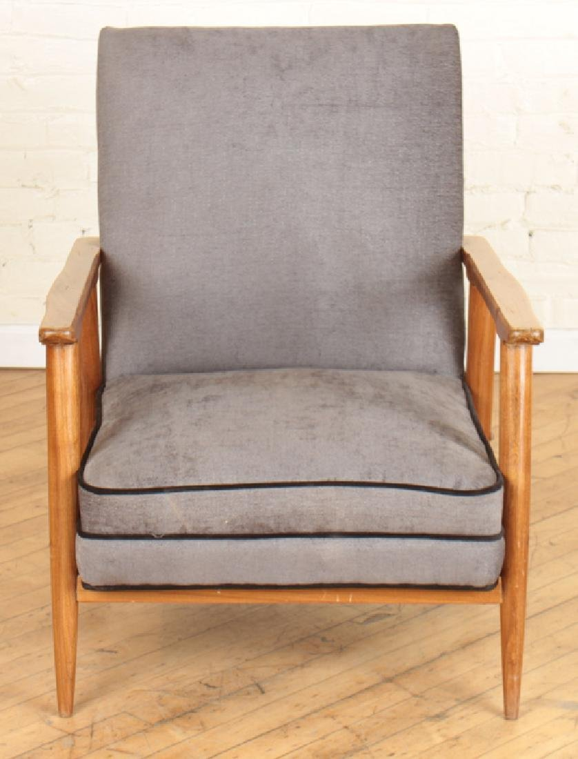 PAIR DANISH STYLE UPHOLSTERED ARM CHAIRS C.1960 - 3