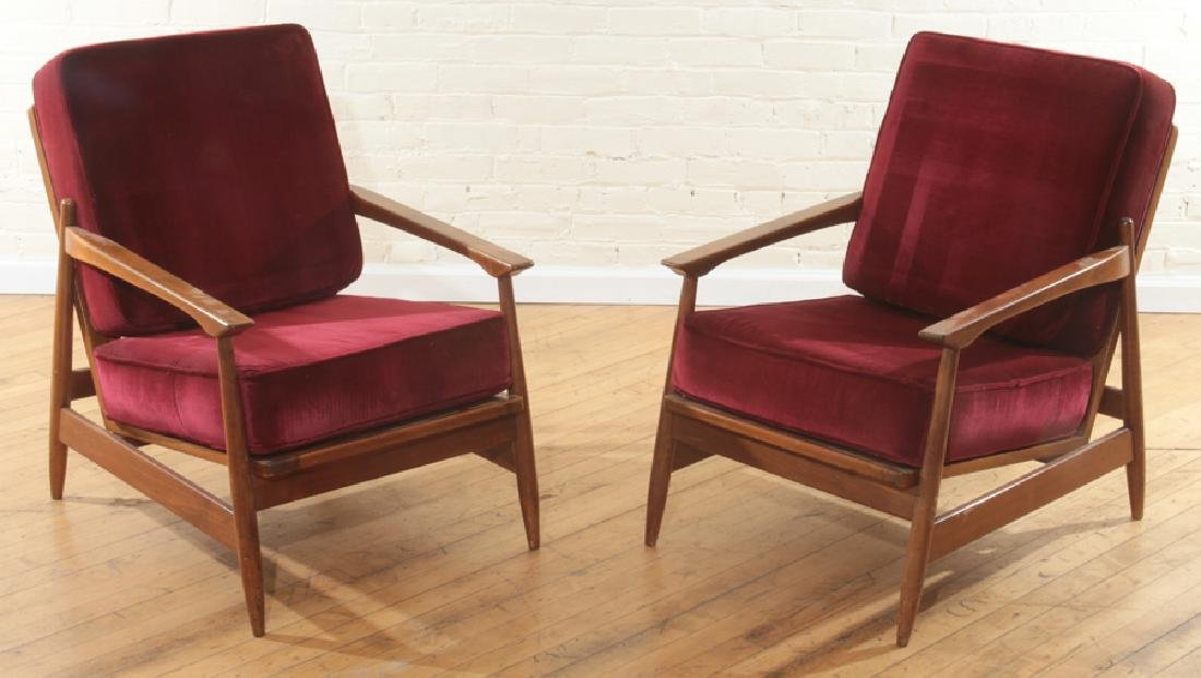 PAIR MAHOGANY DANISH OPEN ARM CHAIRS C.1960