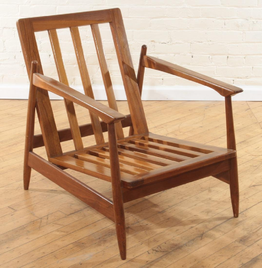 PAIR MAHOGANY DANISH OPEN ARM CHAIRS C.1960 - 3