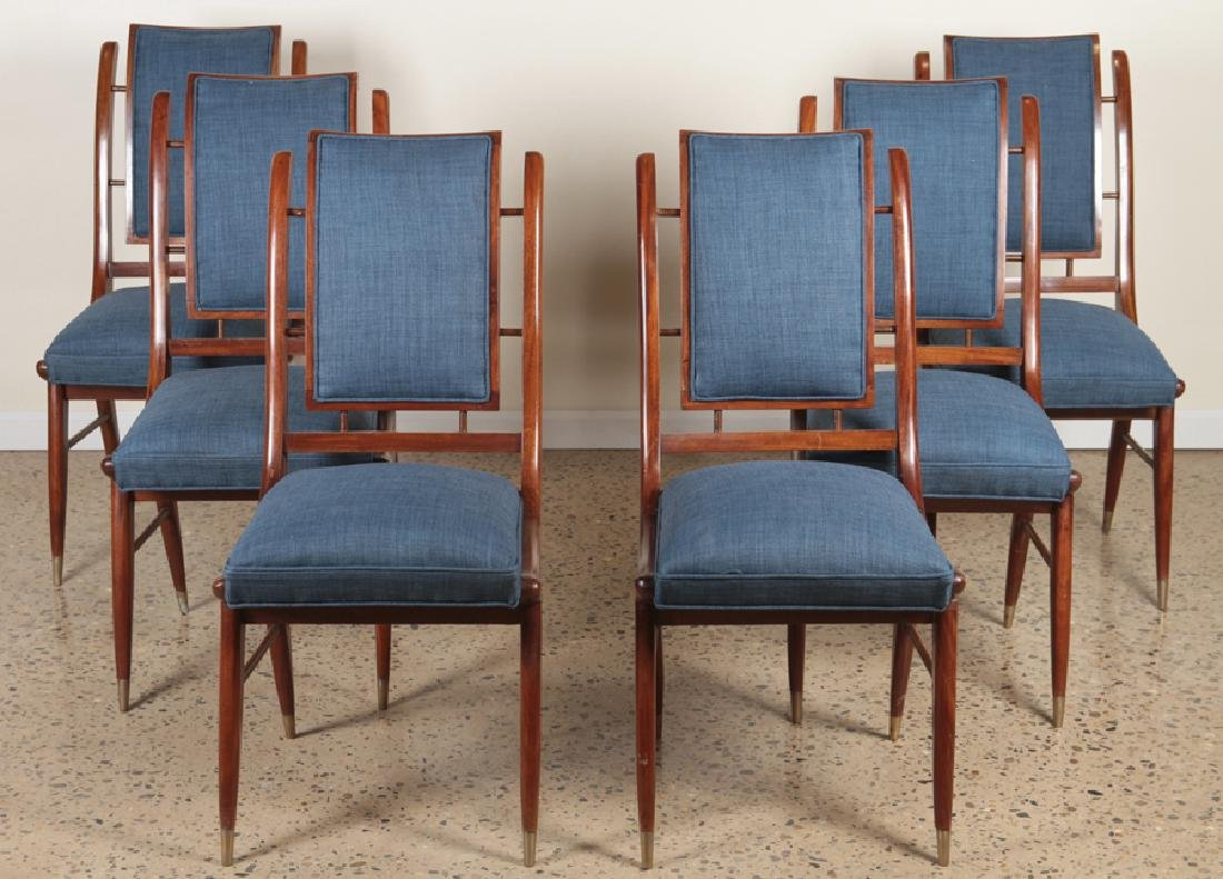 6 MAHOGANY ITALIAN CURVED BACK DINING CHAIRS