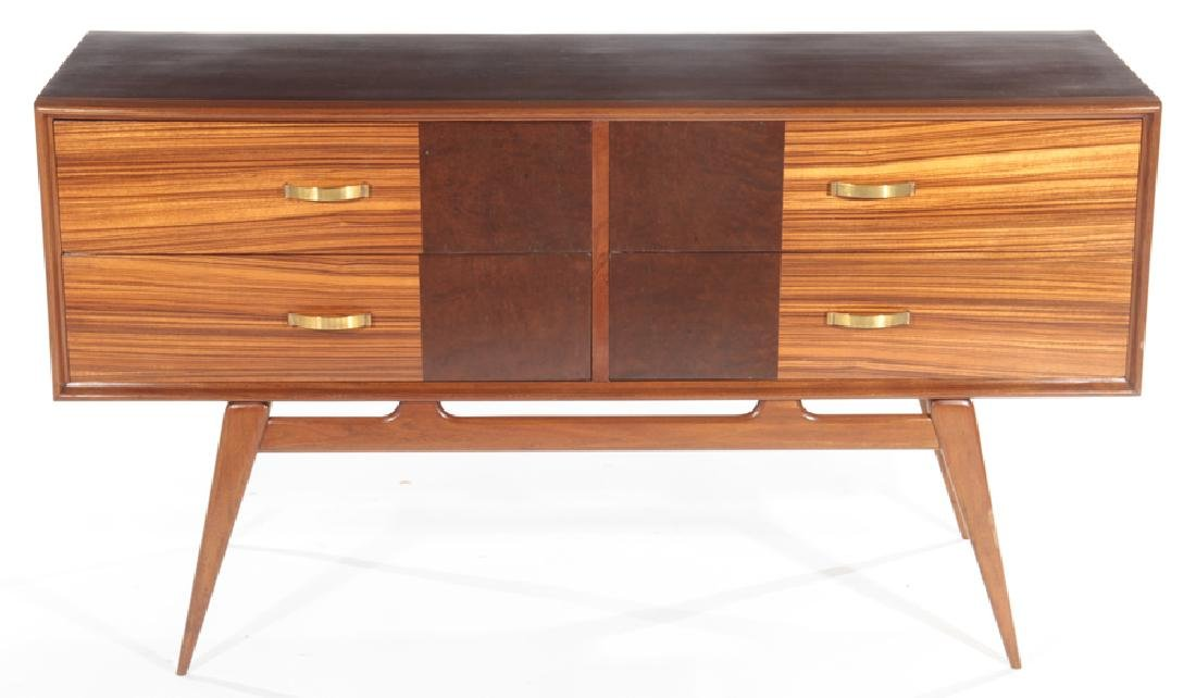 SATINWOOD BURL WOOD MID CENTURY MODERN COMMODE