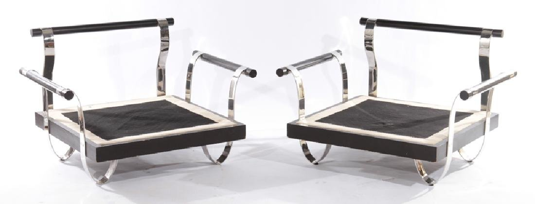 LARGE PAIR CHROME AND WOOD ARMCHAIRS C.1970