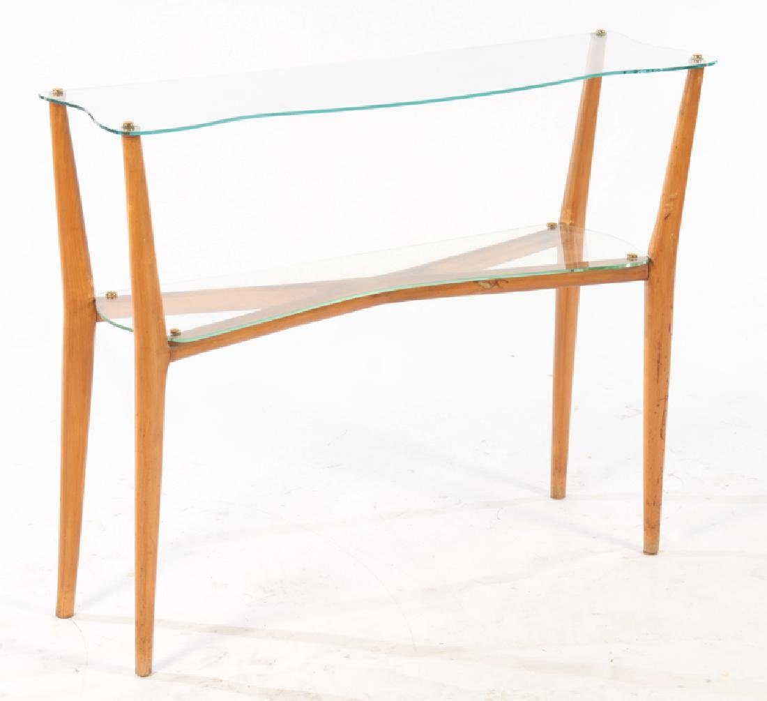 ITALIAN WOOD AND GLASS 2 TIER CONSOLE C.1960