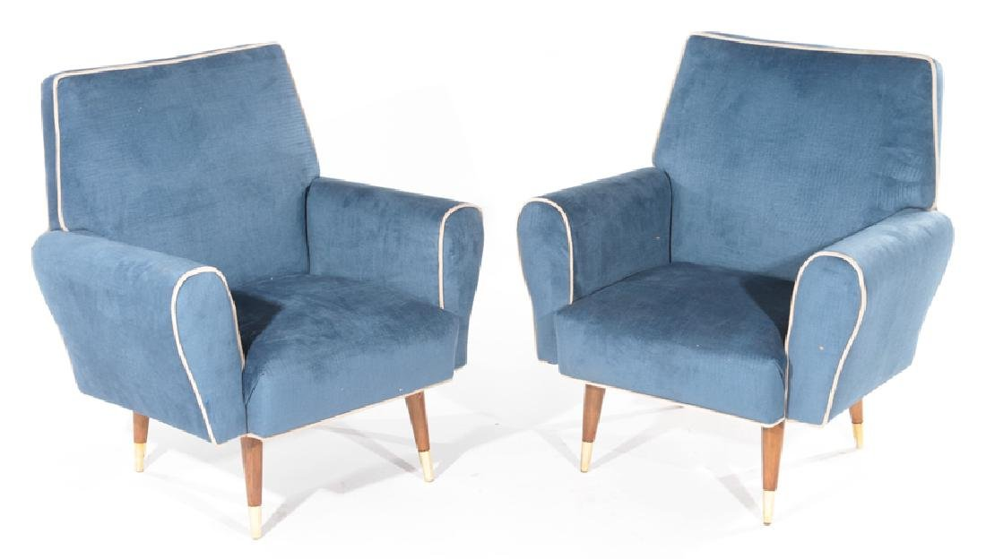 PAIR RECENTLY REUPHOLSTERED CLUB CHAIRS C.1960