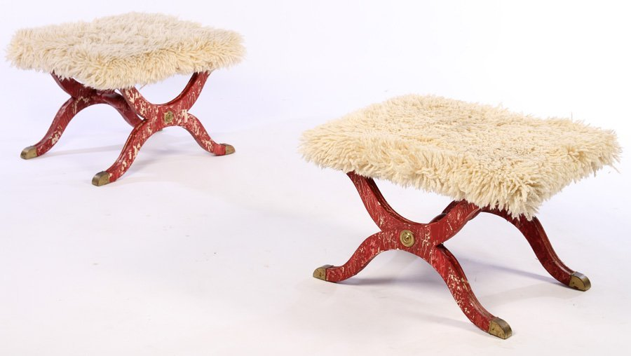 PAIR CONTINENTAL BENCHES SHAGGY GOAT UPHOLSTERY
