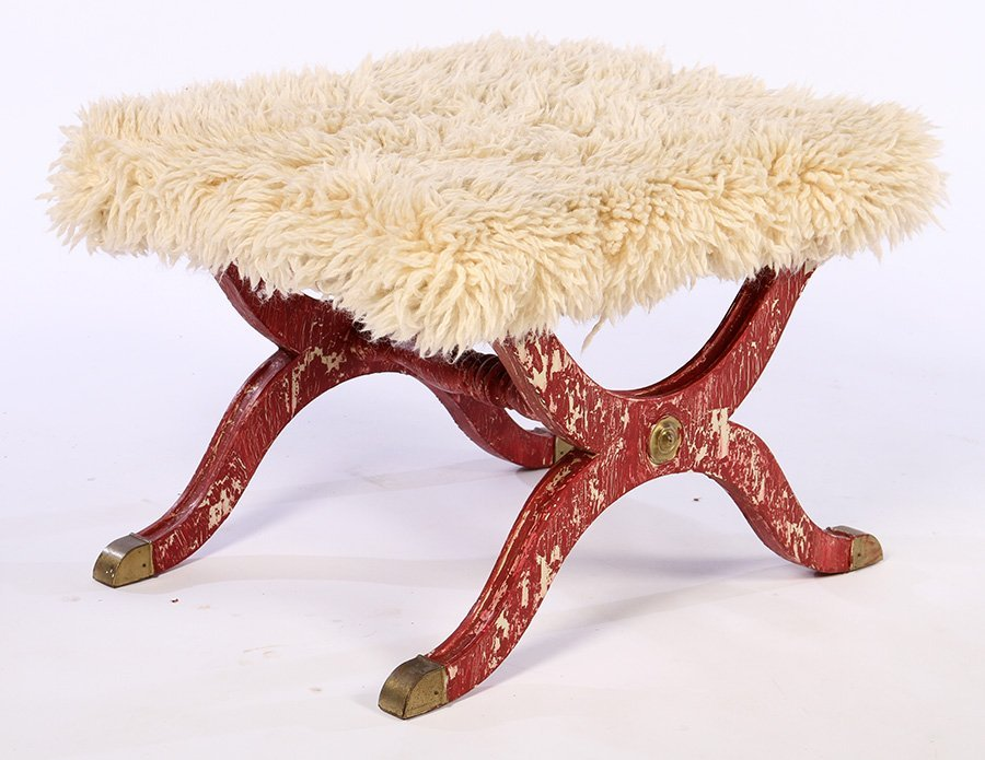 PAIR CONTINENTAL BENCHES SHAGGY GOAT UPHOLSTERY - 2
