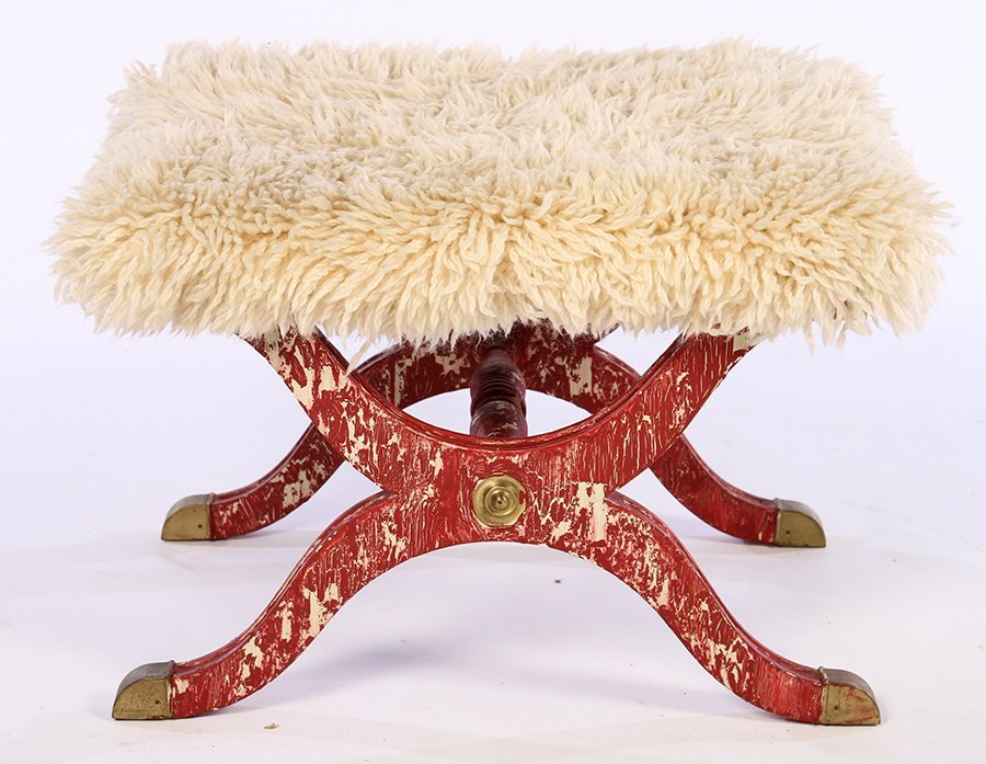PAIR CONTINENTAL BENCHES SHAGGY GOAT UPHOLSTERY - 3