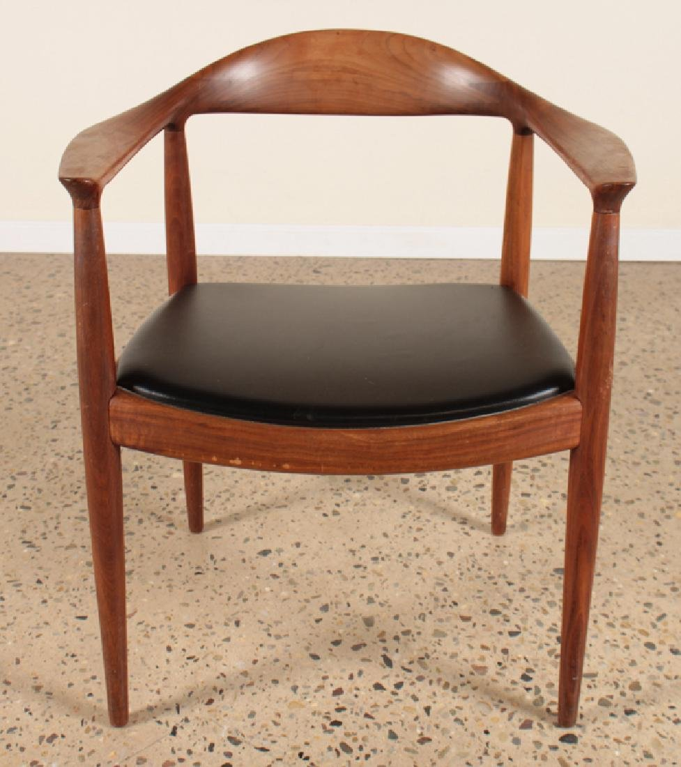 "HANS WEGNER TEAK AND LEATHER ""THE CHAIR"" C.1960"
