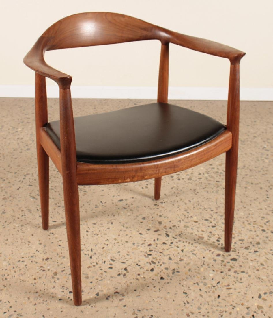 "HANS WEGNER TEAK AND LEATHER ""THE CHAIR"" C.1960 - 2"