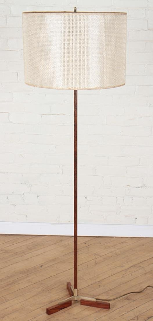 DANISH ROSEWOOD BRASS FLOOR LAMP CIRCA 1960