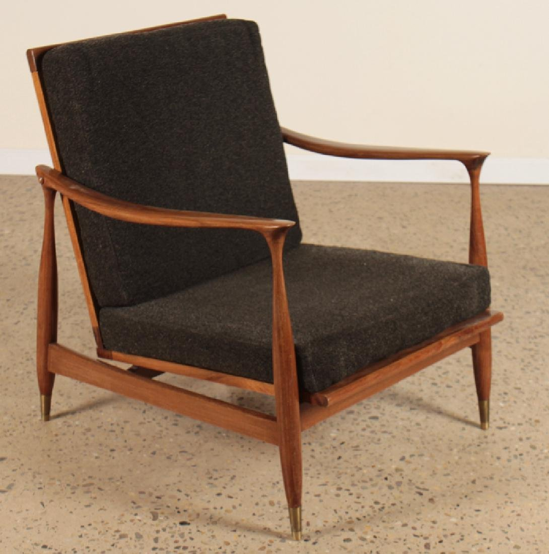 PAIR MID CENTURY MODERN UPHOLSTERED ARM CHAIRS - 2