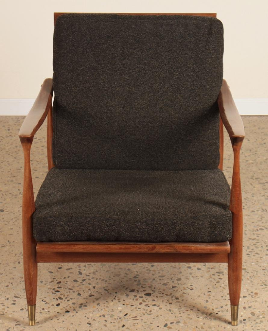 PAIR MID CENTURY MODERN UPHOLSTERED ARM CHAIRS - 3