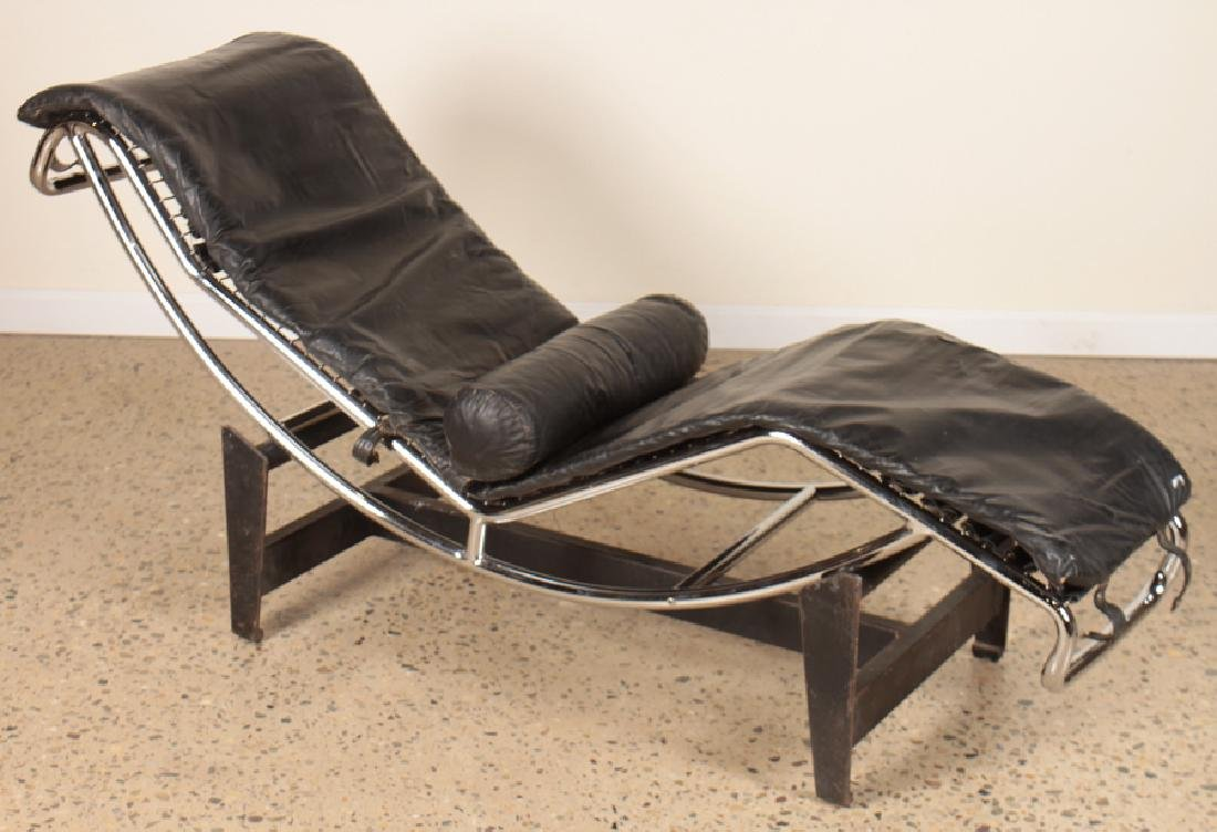 CHROME LEATHER CORBUSIER LC-4 CHAISE LOUNGE C1960