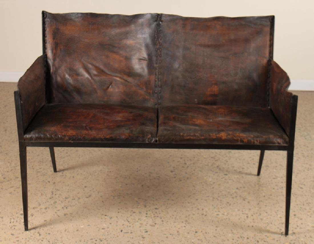 IRON LEATHER SETTEE MANNER OF JEAN-MICHEL FRANK - 2