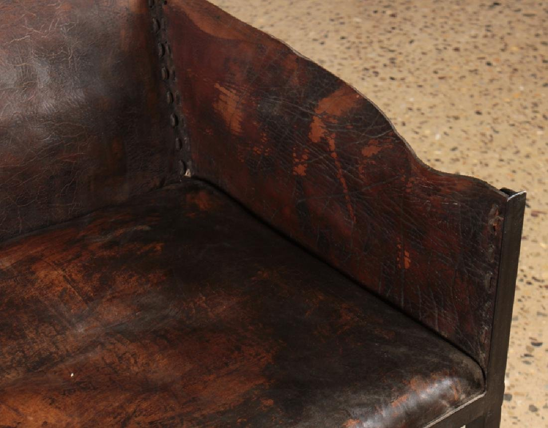 IRON LEATHER SETTEE MANNER OF JEAN-MICHEL FRANK - 3
