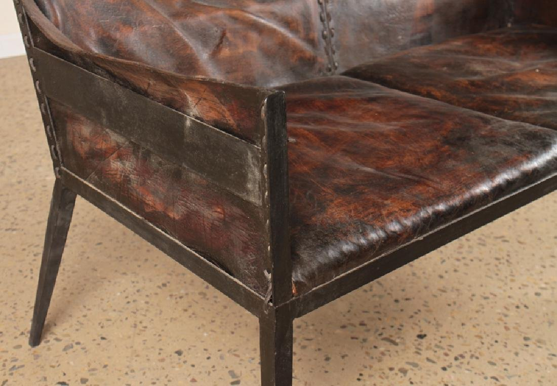 IRON LEATHER SETTEE MANNER OF JEAN-MICHEL FRANK - 4