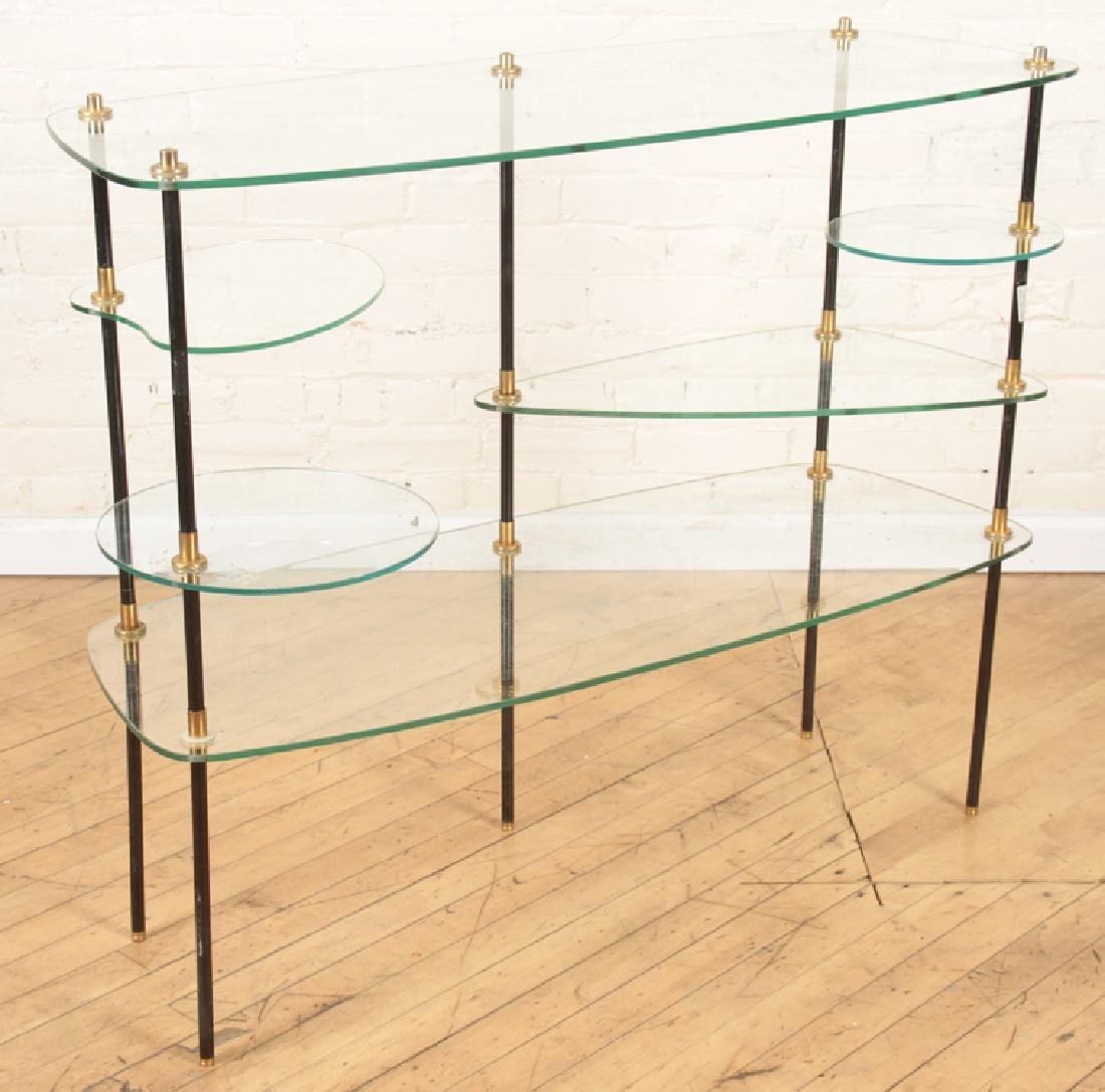 MID CENTURY MODERN TIERED GLASS CONSOLE TABLE - 2