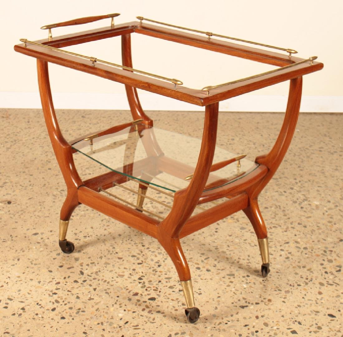 ITALIAN MAHOGANY AND GLASS DRINKS CART CIRCA 1960
