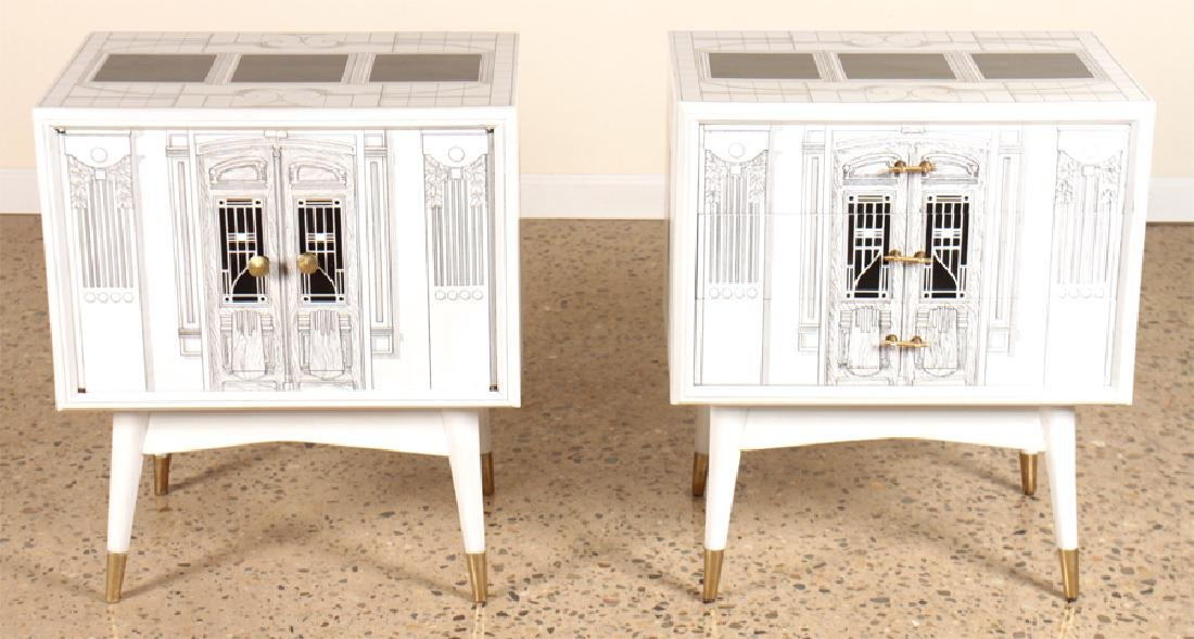 PAIR PAINTED FORNASETTI STYLE END TABLES C.1960