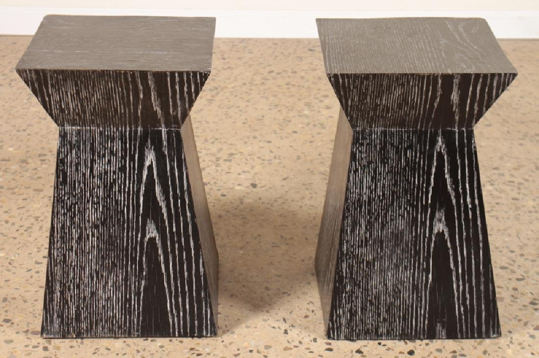 PAIR EBONIZED CERUSED OAK SIDE TABLES OR STOOLS